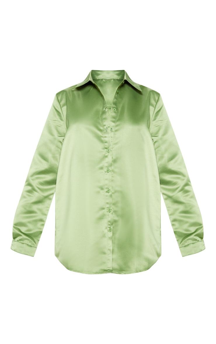 Olive Khaki Satin Button Front Shirt  3