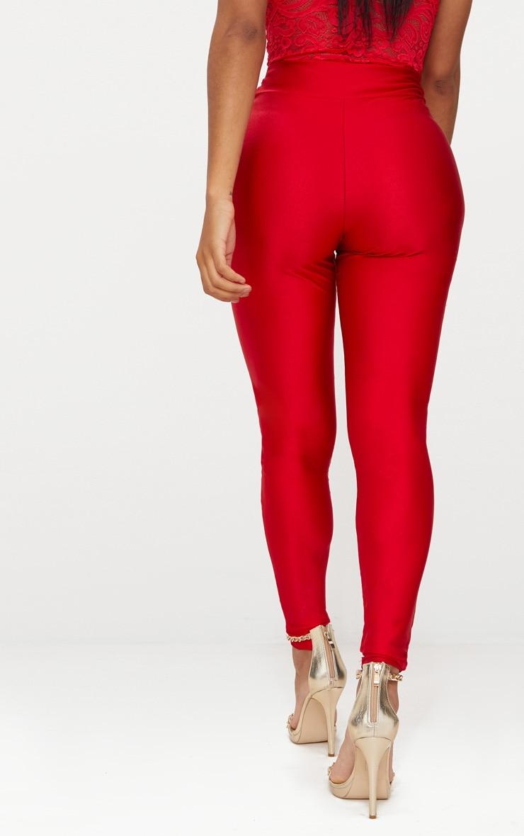 Shape Red Slinky Disco High Waisted Leggings 4