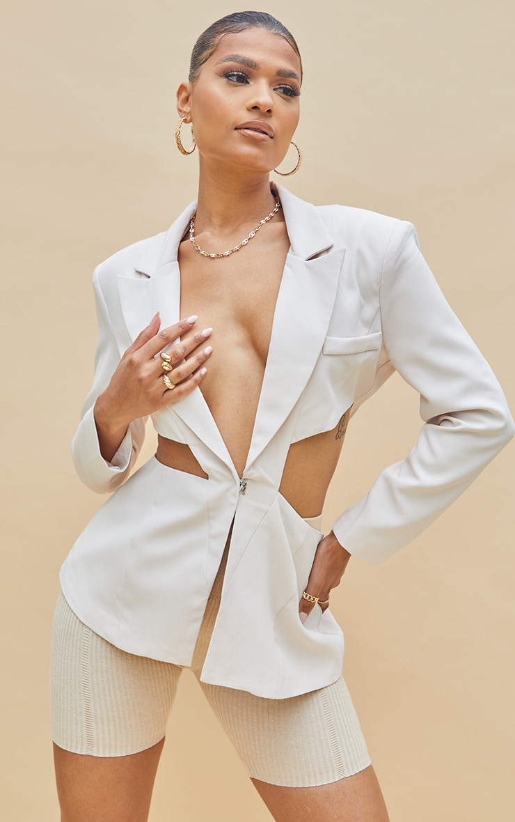 Cream Woven Extreme Cut Out Blazer 1