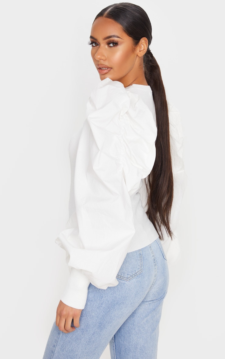White Extreme Poplin Sleeve Knitted Jumper 2