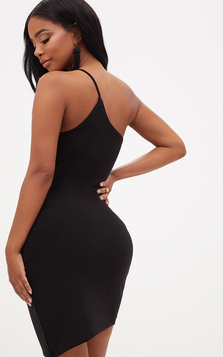 Shape Black One Shoulder Asymmetric Bodycon Dress 2