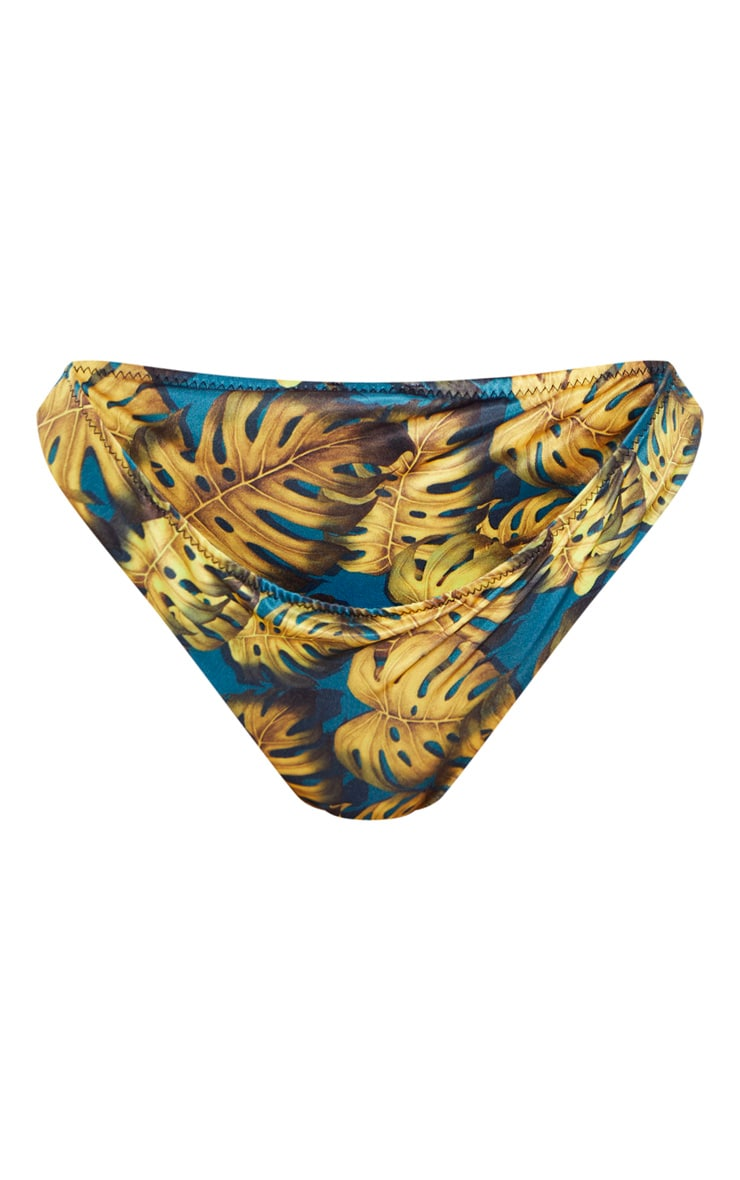 Teal Leaf Print Cheeky Bum Bikini Bottom 6