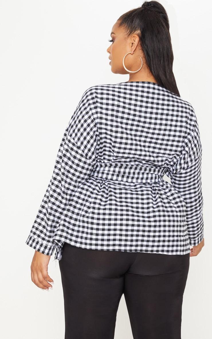 Plus Gingham Tie Waist Blouse 2
