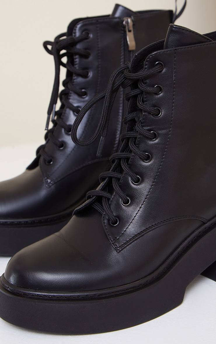 Black Platform Lace Up Ankle Biker Boots 4