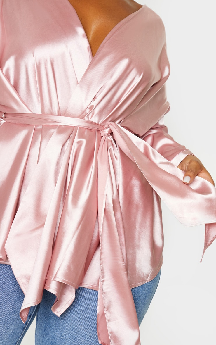 Plus Blush Satin Tie Waist Blouse 5