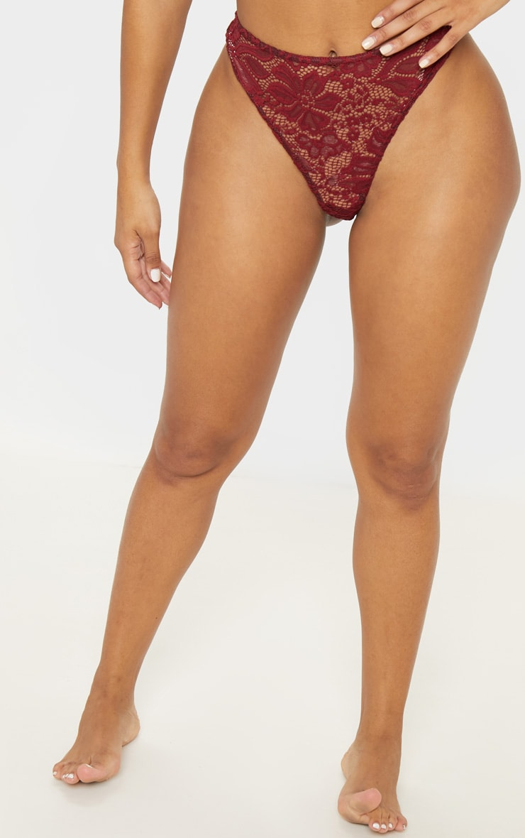 Shape Burgundy Lace French Knickers 2