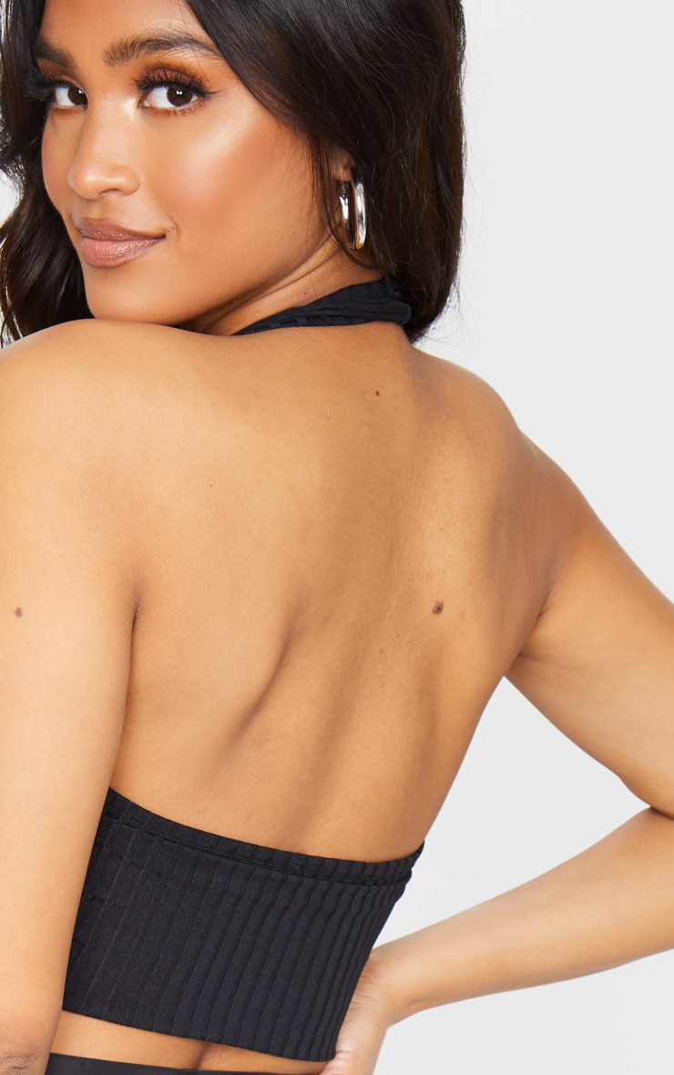 Black Rib Halterneck Cut Out Sleeveless Crop Top 4