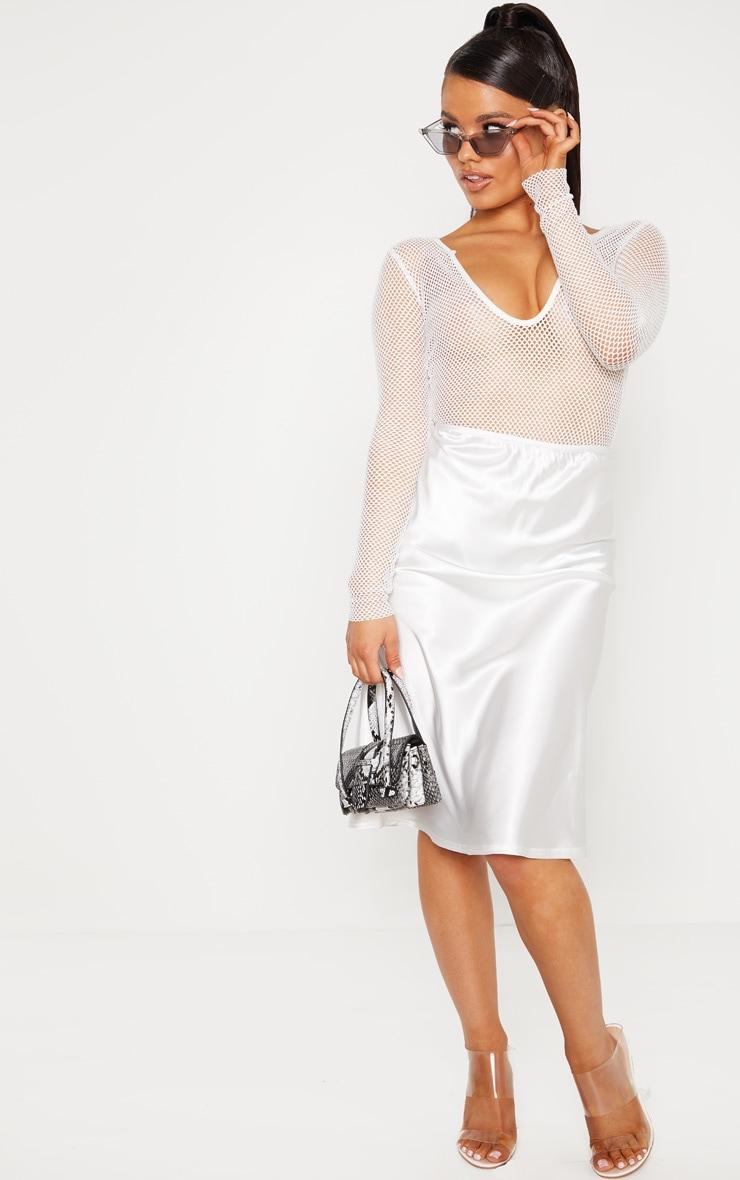 Petite Cream Satin Slip Skirt  1
