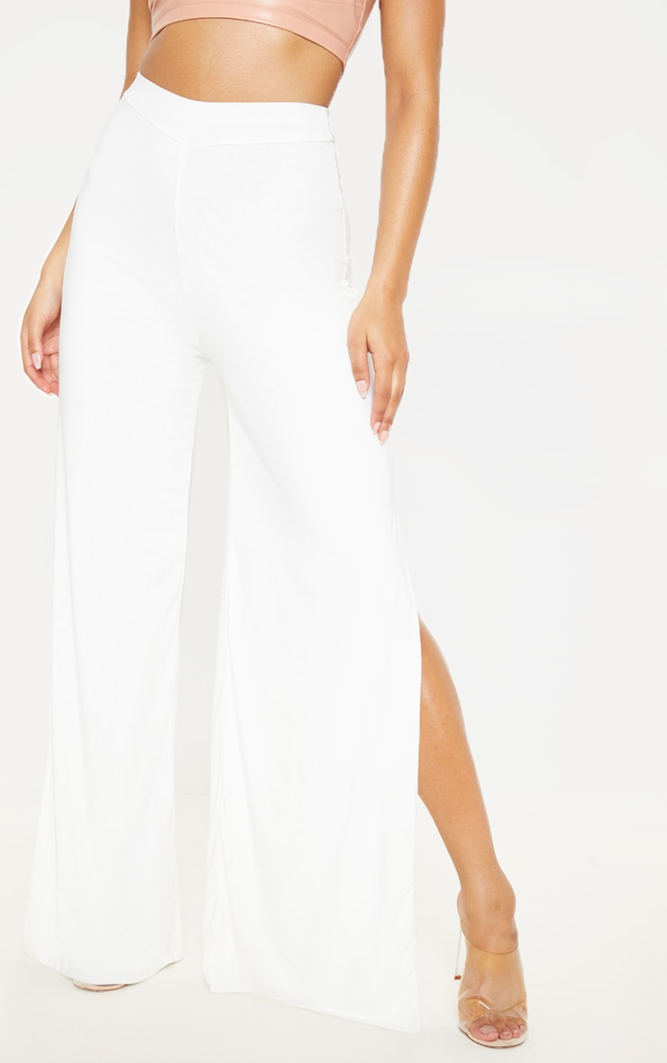 Darsee Cream Side Split Slinky Trousers 2