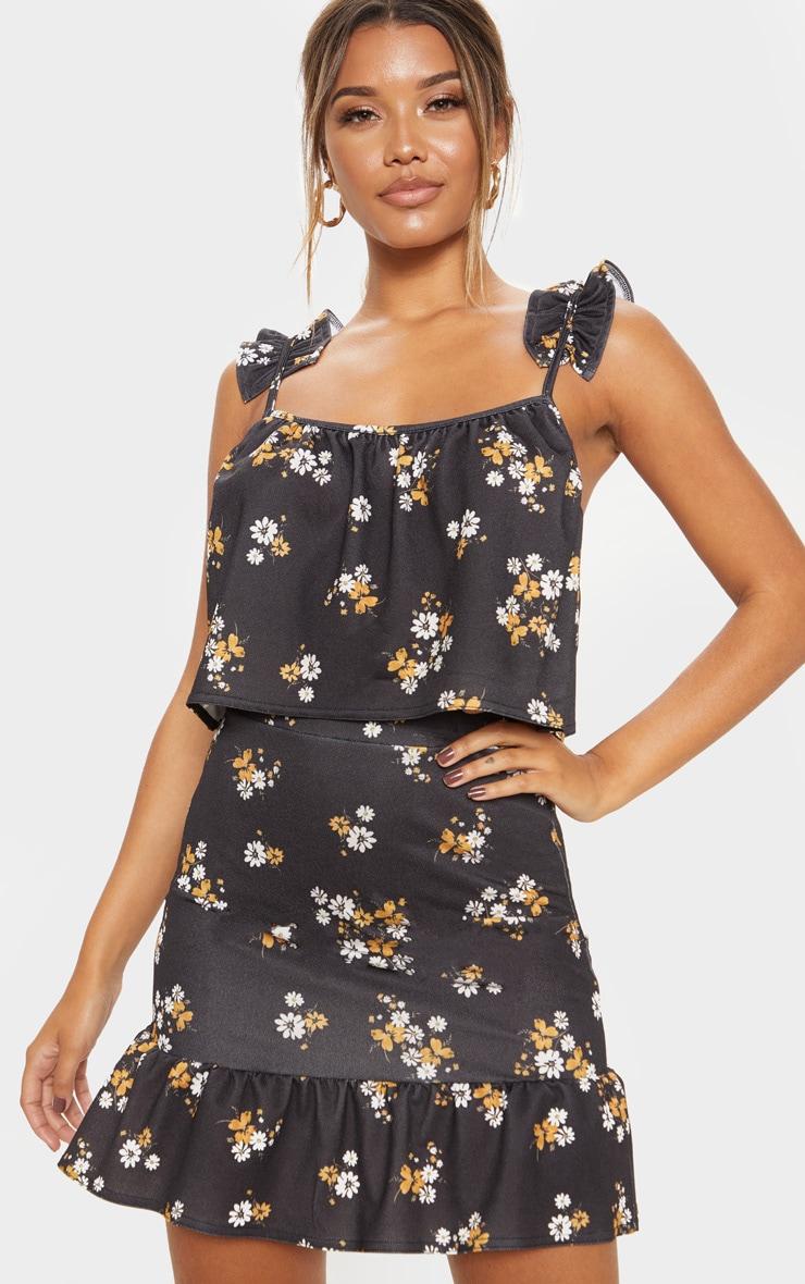 Black Floral Frill Hem Skirt 5