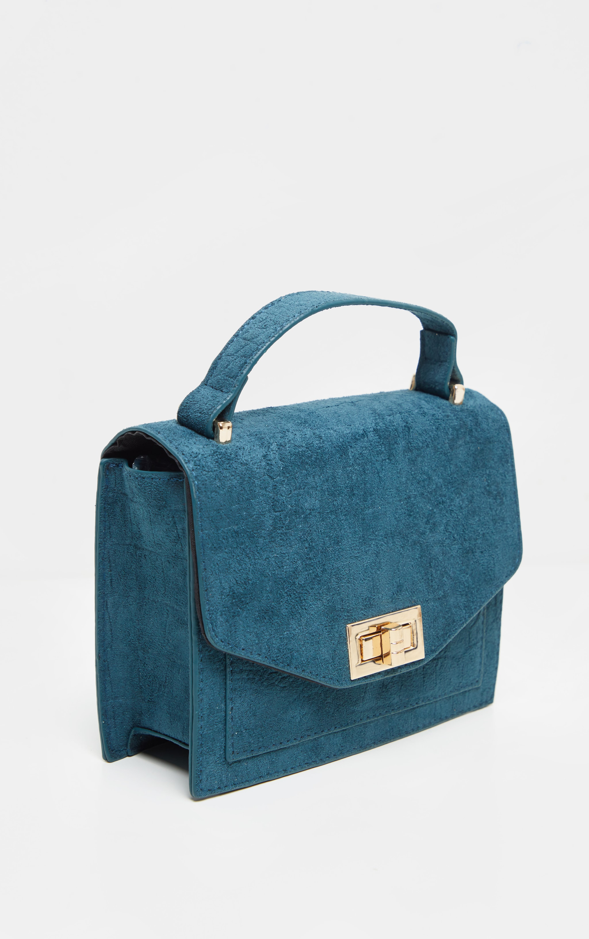 Petrol Blue Croc Embossed Velvet Box Cross Body Bag 3