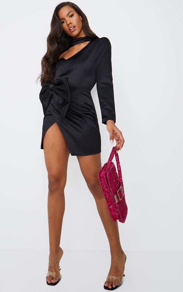 Black Cut Out Bow Detail High Neck Bodycon Dress 3