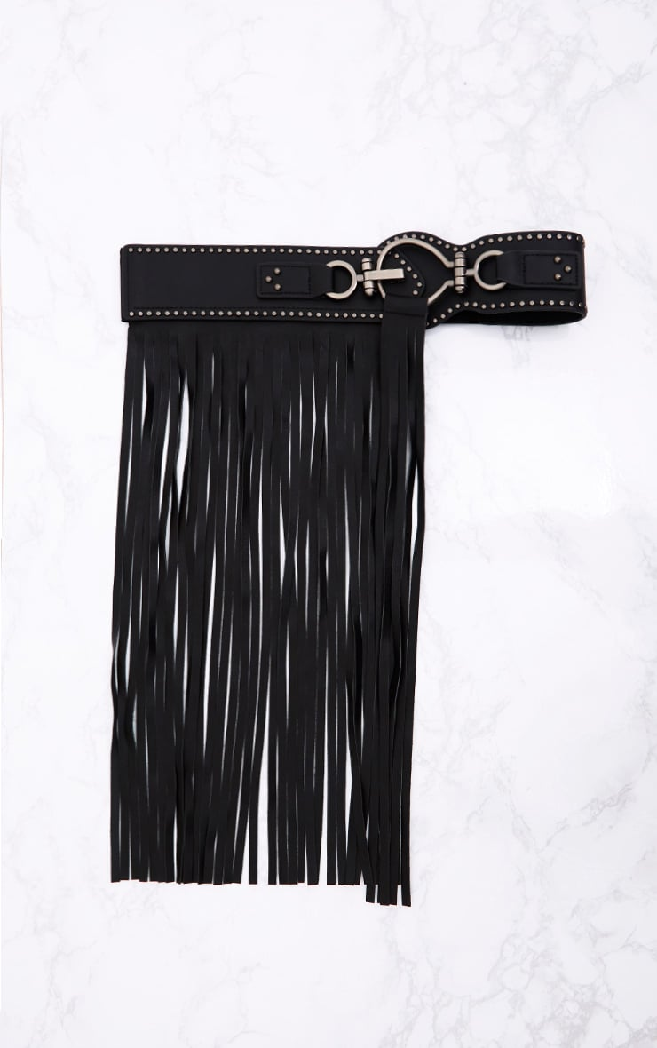 Black Fringed Waist Belt 4