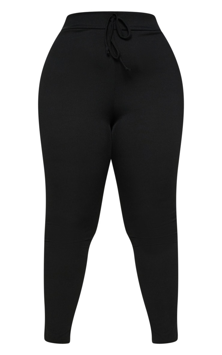 Plus Black Ribbed High Waist Leggings 3