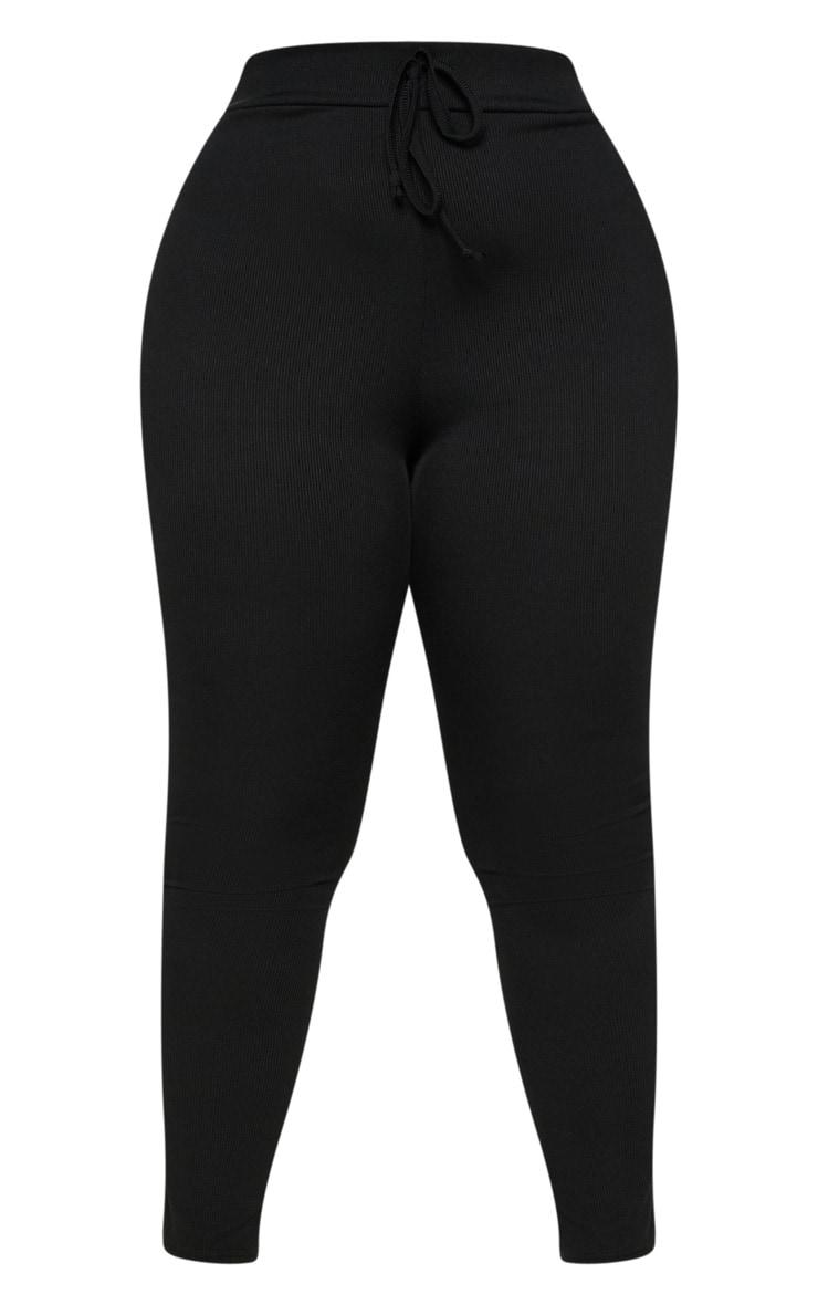 PLT Plus - Legging taille haute noir côtelé 3