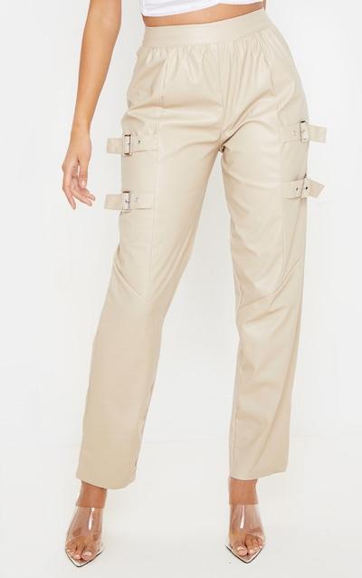 Taupe Buckle Detail PU Straight Leg Trouser