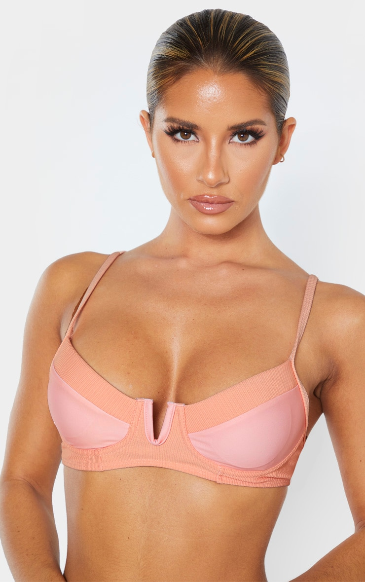 Peach Contrast Underwired Ribbed Bikini Top 4