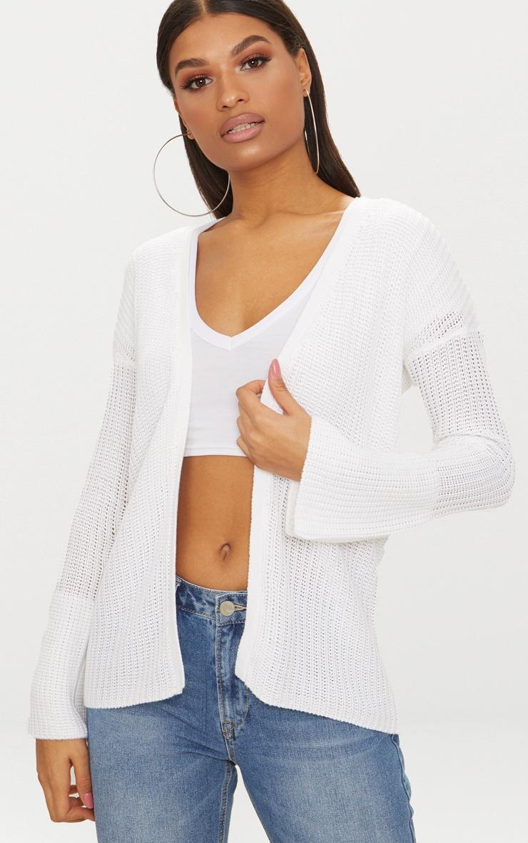 White Flared Sleeve Cardigan 1