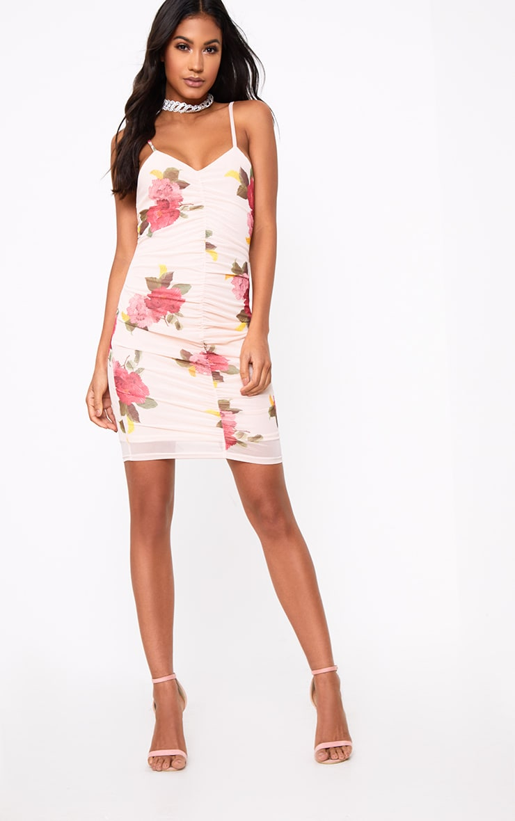 Pink Floral Mesh Ruched Front Bodycon Dress 4