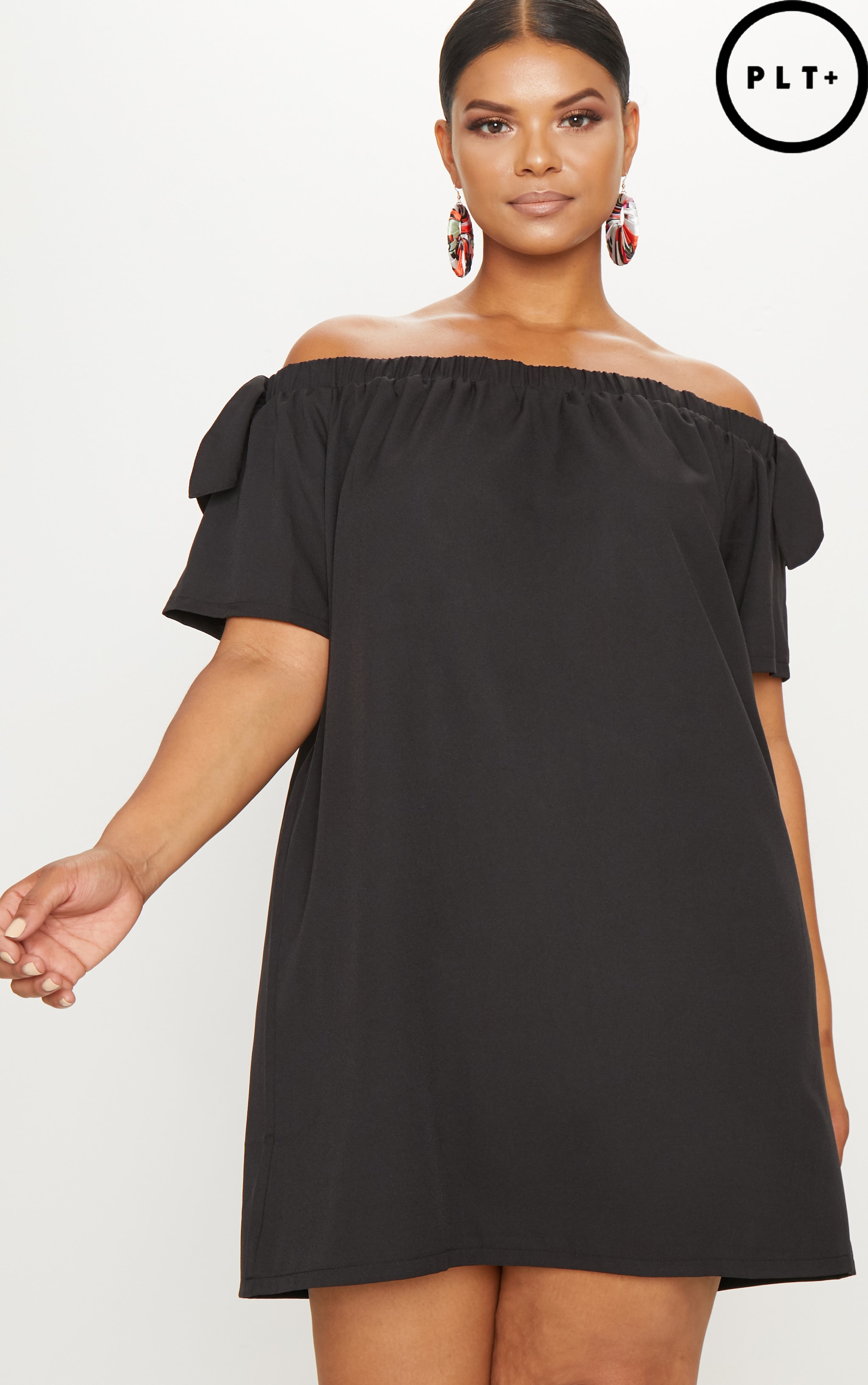 Plus Black Crepe Bardot Swing Dress 1