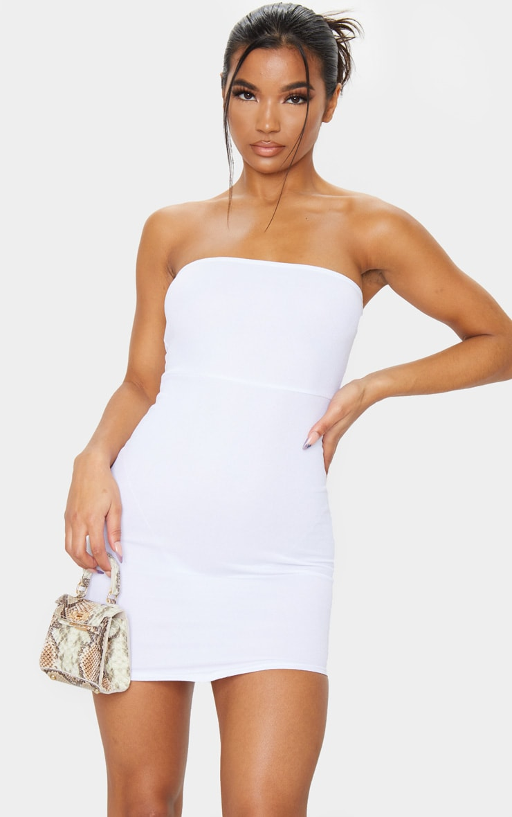 White Bandeau Pointy Hem Bodycon Dress 1