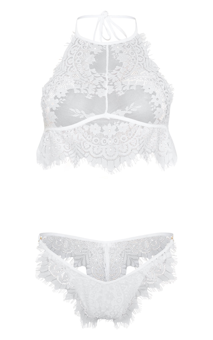 White Lace High Neck Lingerie Set 3