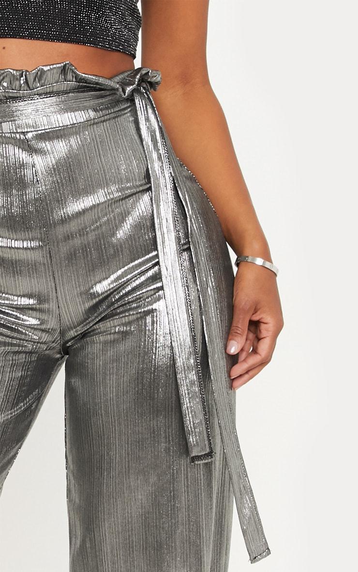 Shape - Pantalon paper bag argenté métallisé à jambes évasées 4