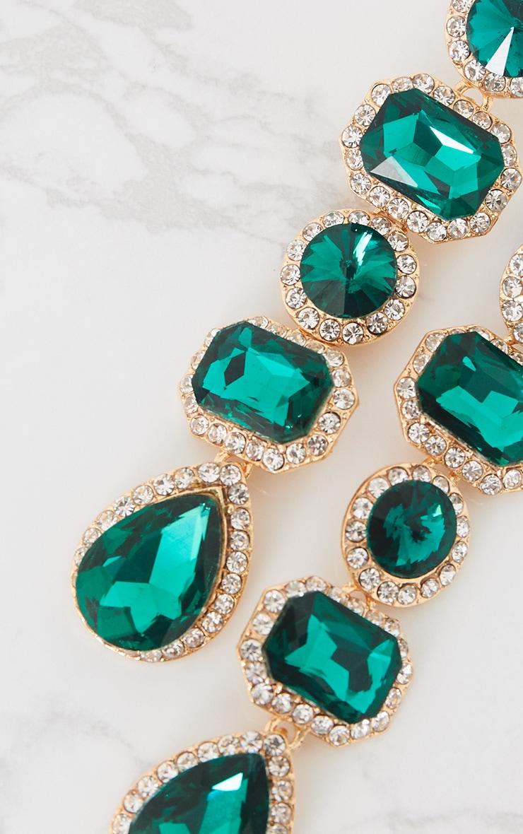 Emerald Green Chunky Diamante Line Drop Earrings 5
