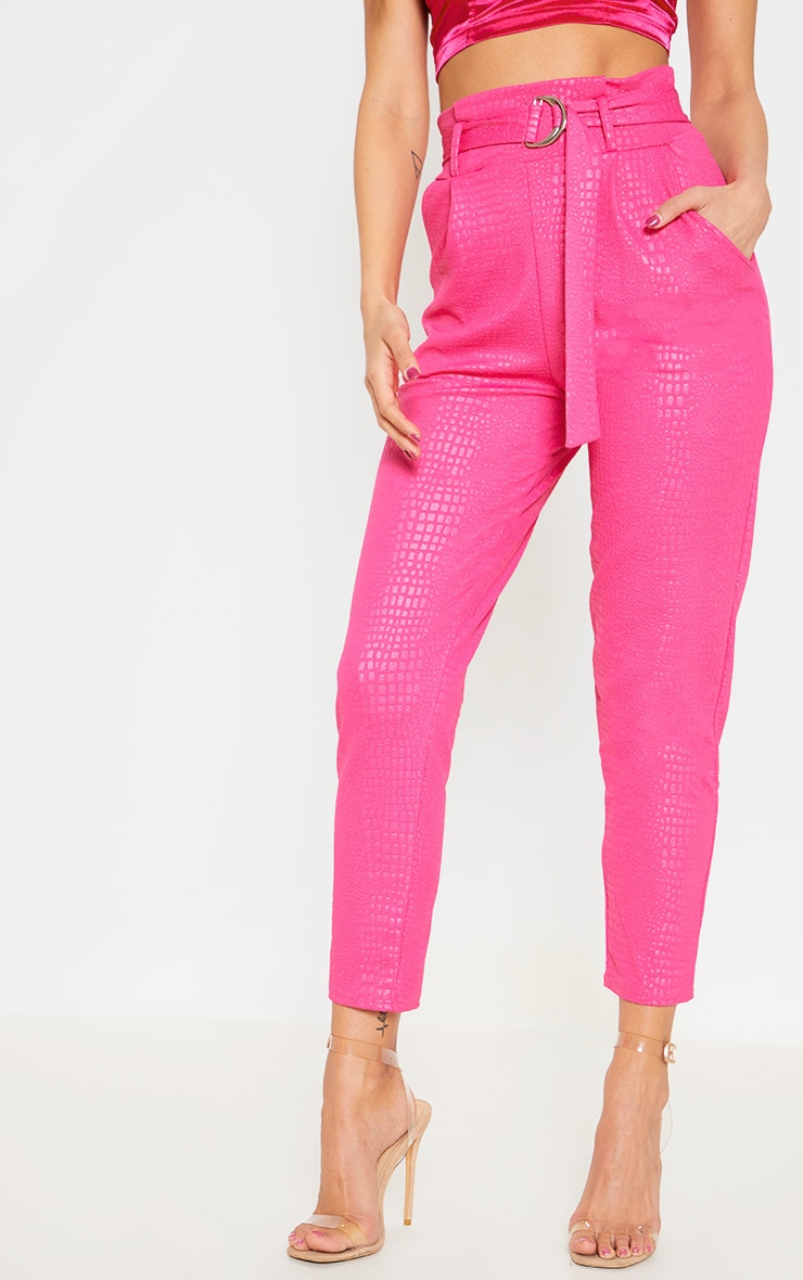 Fuchsia Croc Print D Ring Belted Skinny Trousers 2