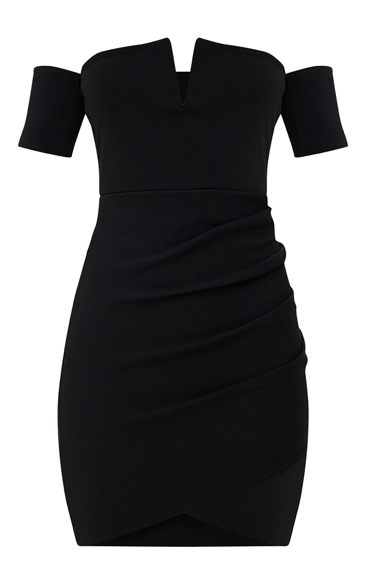 Black Bardot Wrap Front Bodycon Dress 3