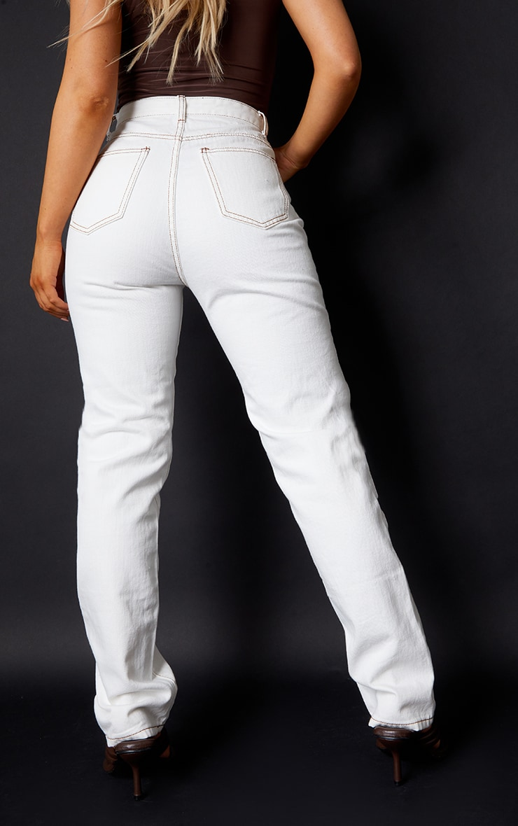 Off White Contrast Stitch Long Leg Straight Jeans 3