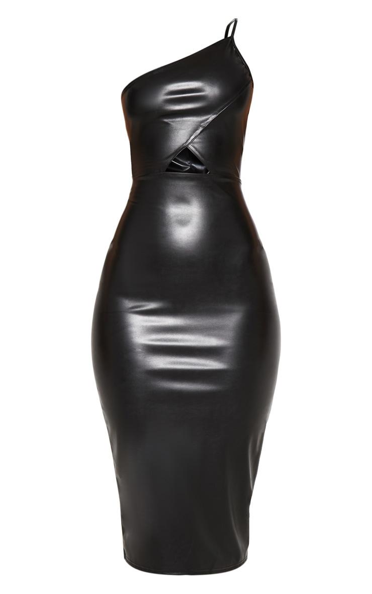 Black Faux Leather One Shoulder Cut Out Midi Dress 3