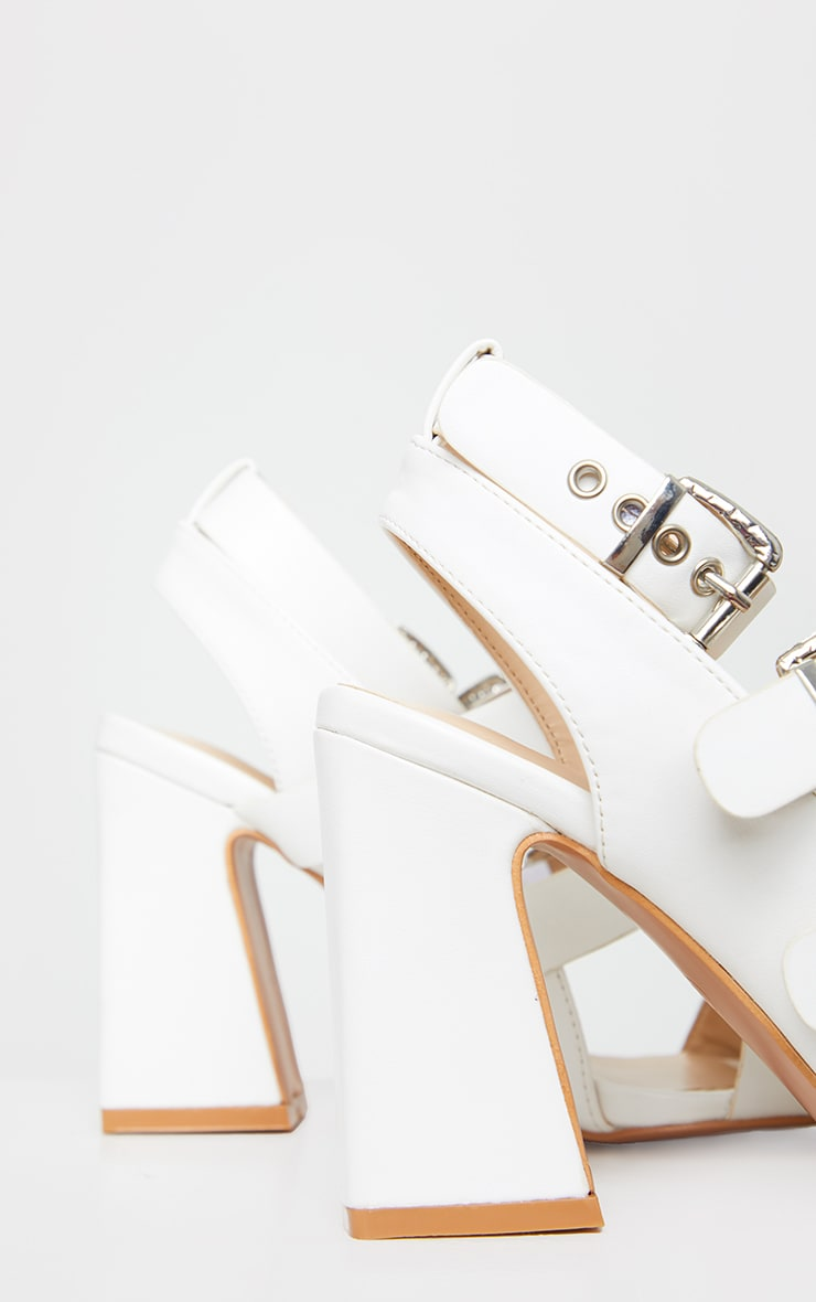White Block Heel Multi Buckle Sandals 4