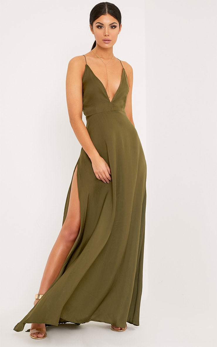 Beccie Khaki Extreme Split Strappy Back Maxi Dress 1