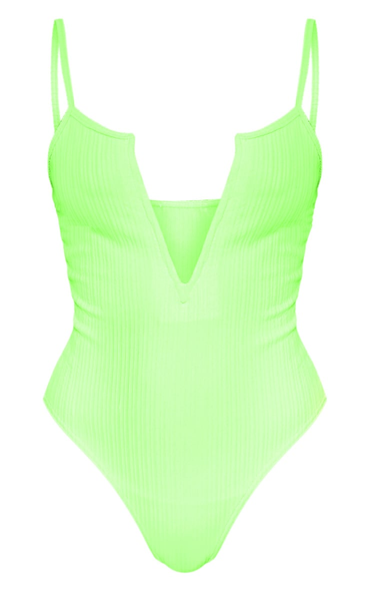 Neon Lime Strappy Ribbed V Plunge Bodysuit 3