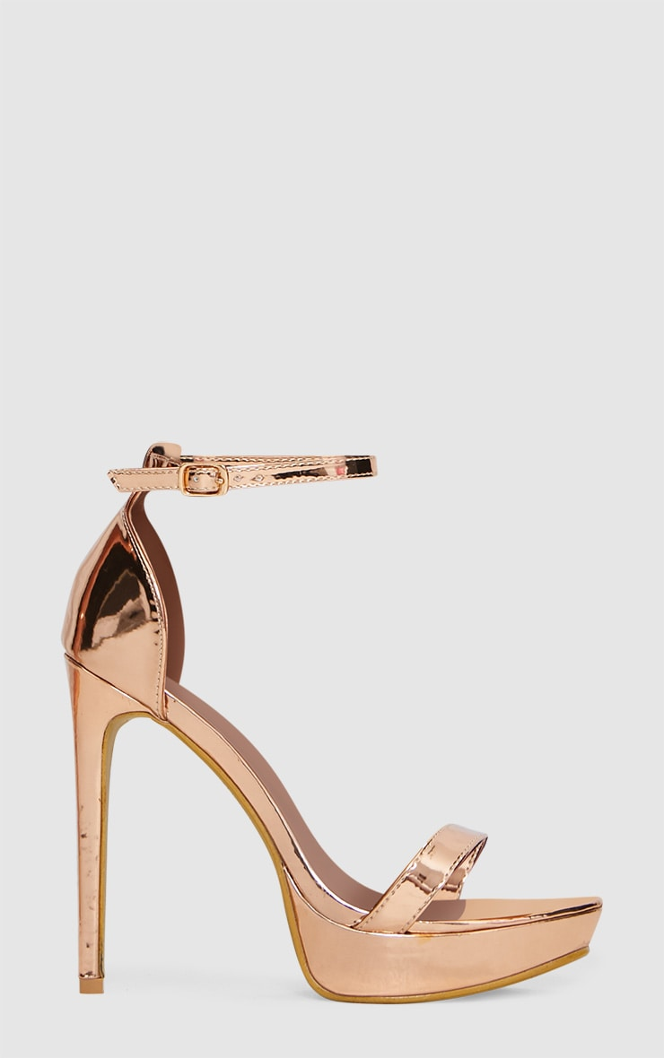 Rose Gold Platform Strap Heeled Sandal 3