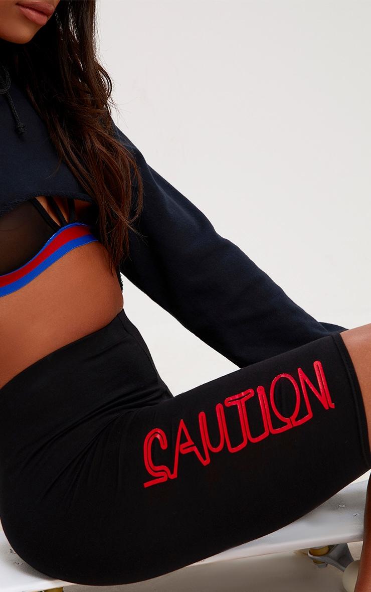Black Caution Cycle Shorts 4