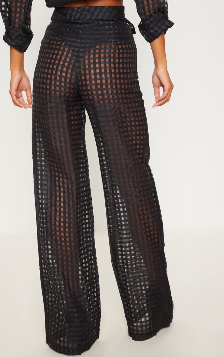Black Sheer Check Wide Leg Trouser 4