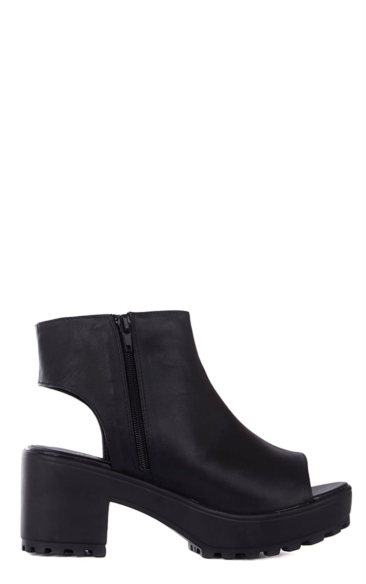 Amity Black Faux Leather Peep Toe Ankle Boots 3