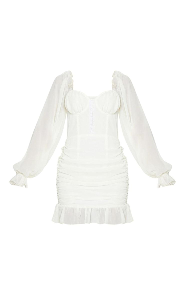 Cream Corset Detail Ruched Bodycon Dress 5