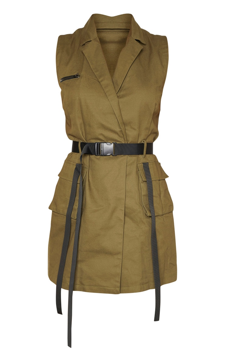 Khaki Sleeveless Utility Bodycon Dress 3