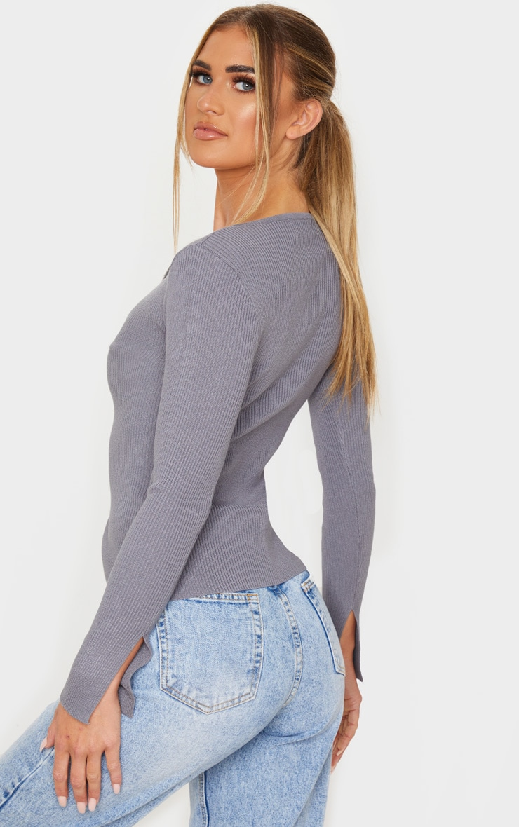 Charcoal Grey Zip Front Knit Top 2