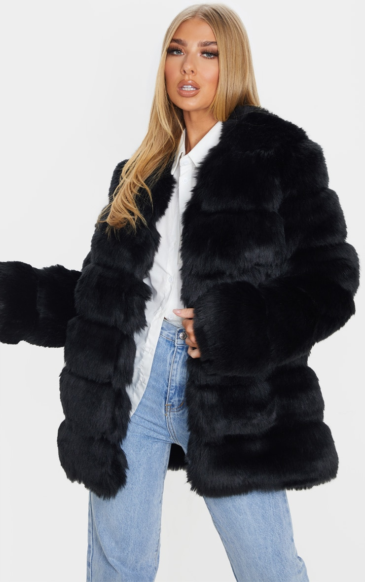 Black Faux Fur Bubble Coat 1