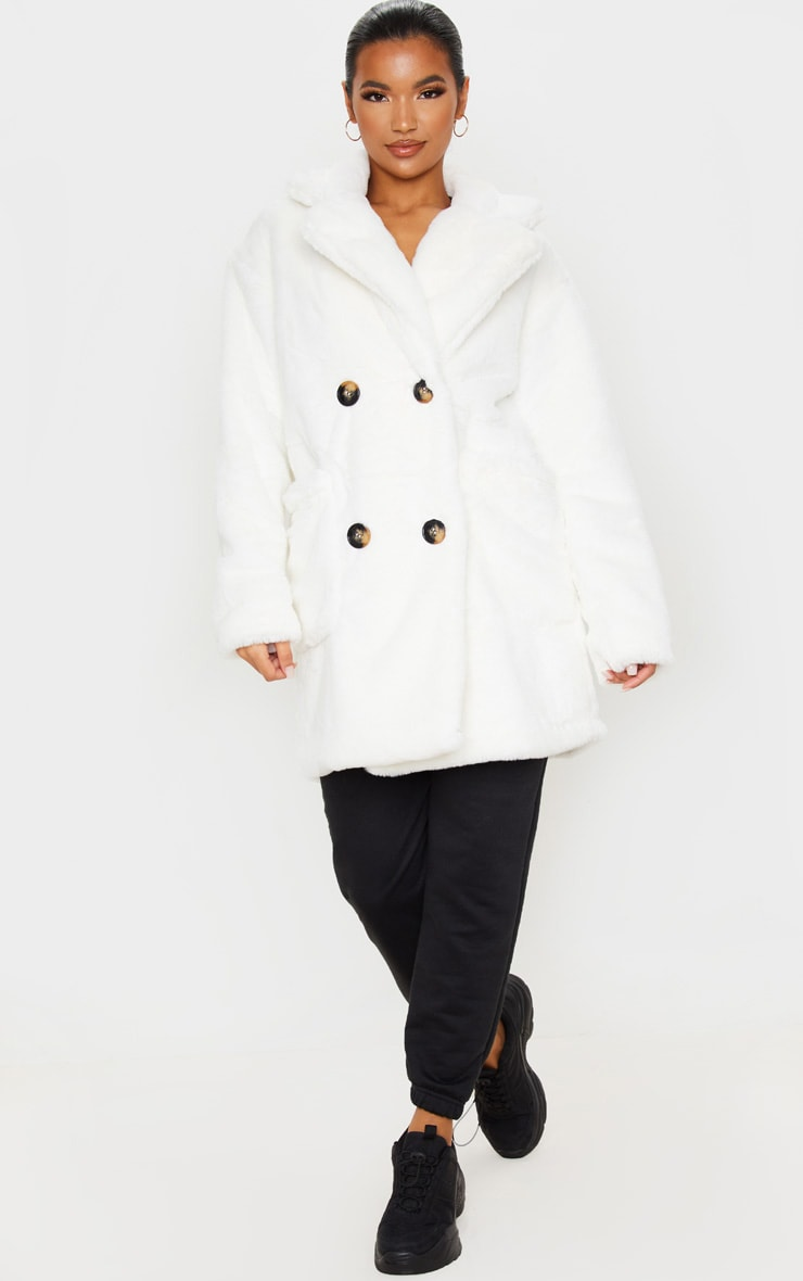 Cream Faux Fur Double Breasted Button Detail Coat 4