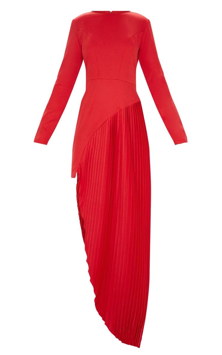 Red Pleated Asymmetric Hem Maxi Dress 3