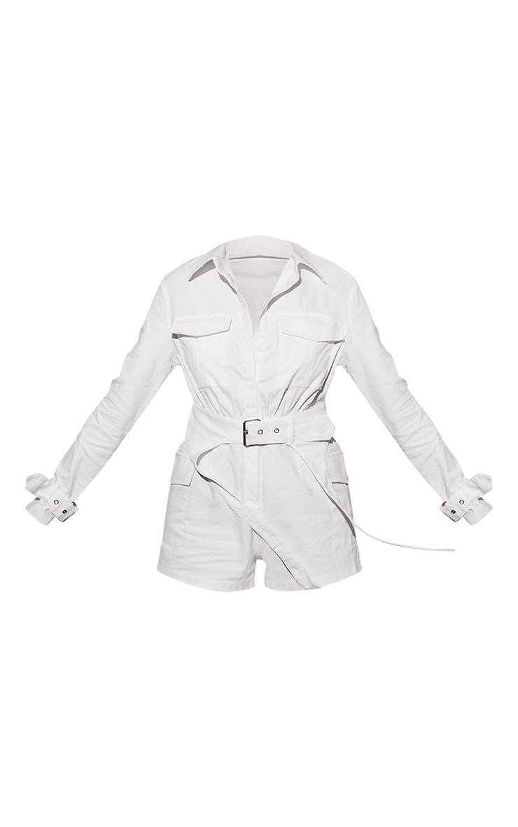 White Cargo Buckle Detail Belted Romper 5