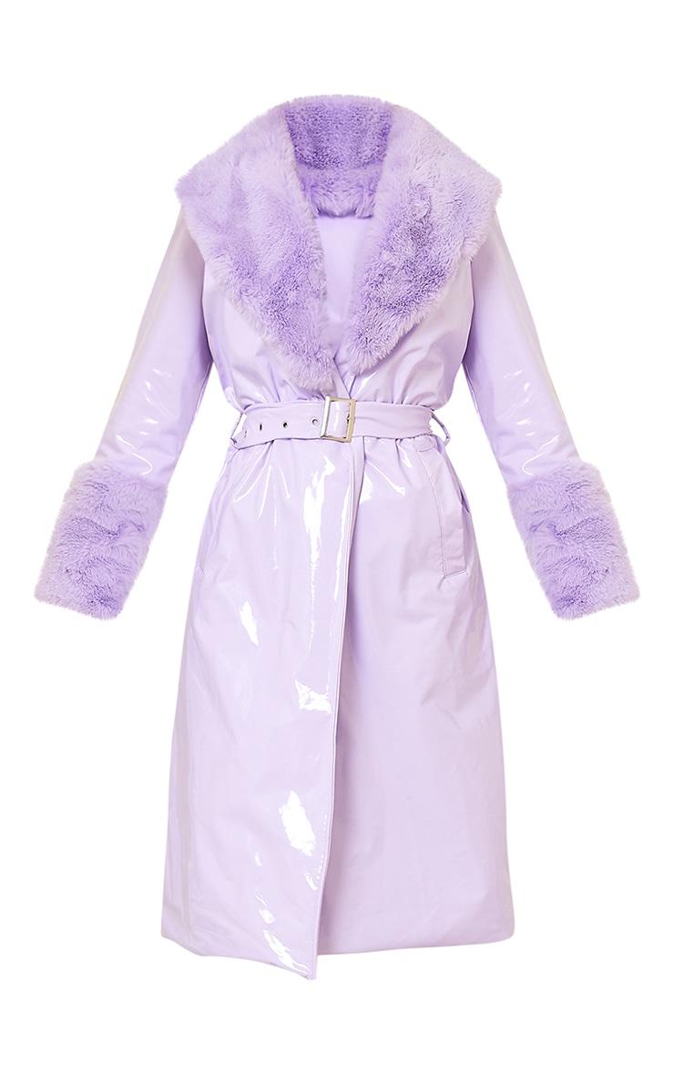 Lilac Vinyl Faux Fur Maxi Trench Coat 6
