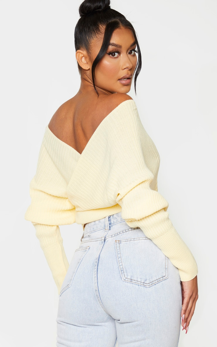 Yellow Off The Shoulder Wrap Jumper 2