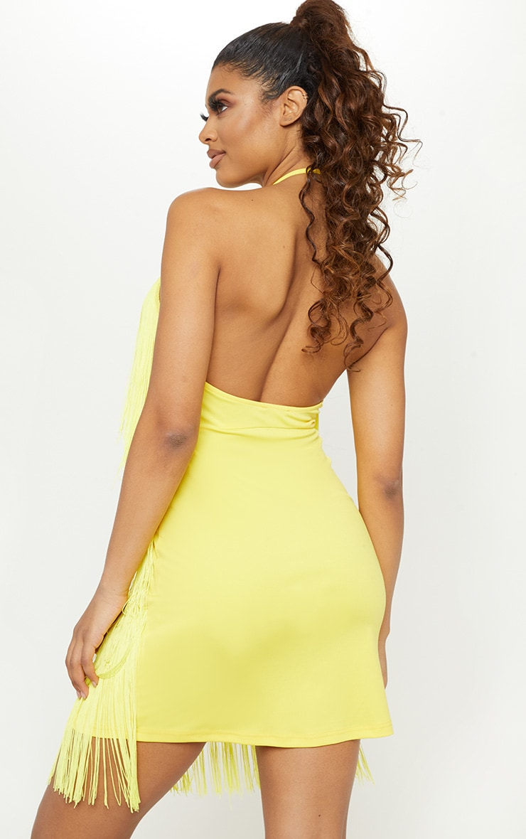 Tall Yellow Fringe Detail Halterneck Dress 2