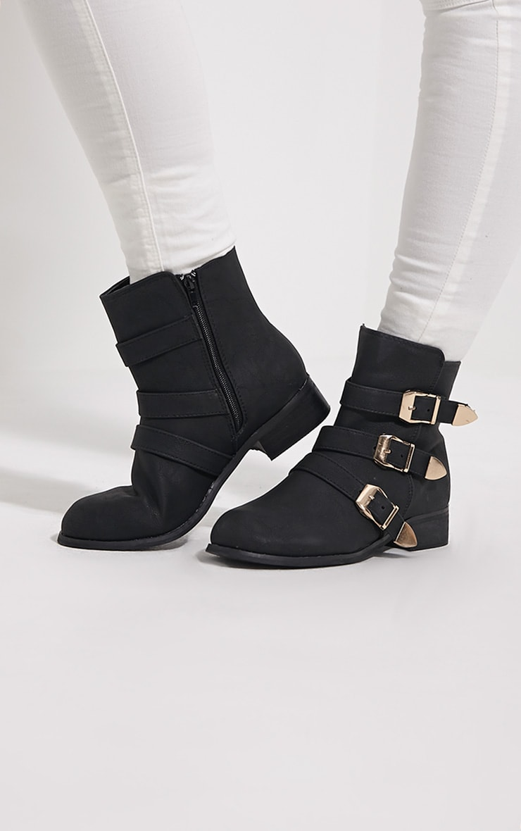 Martha Black Three Buckle Ankle Boots 1